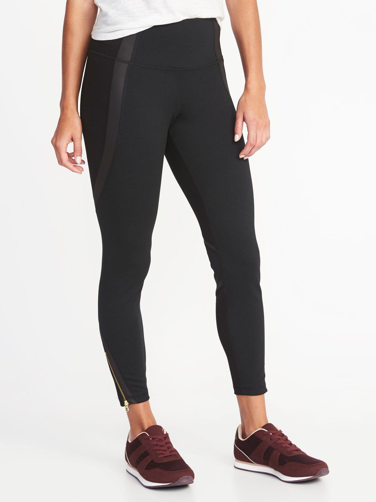 817a2855b3684f High-Rise 7/8-Length Ponte-Knit Ankle-Zip Street Leggings for Women | Old  Navy
