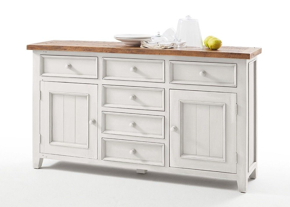 Sideboard Landhausstil Byron Holz Massiv Weiß mit Vintage Braun