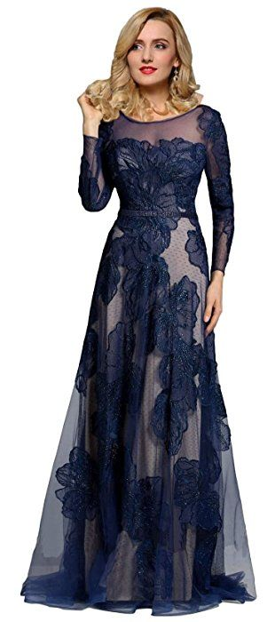 9e223eda6ec6 Meier Women's Long Sleeve Illusion Back Embroidery Lace Evening Dress Navy  Size 14