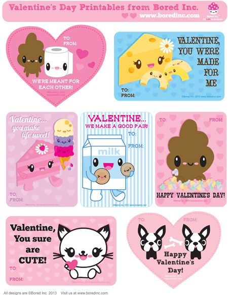 TokyoBunnie FREE Bored Inc Valentines Day Printable Cards – Valentines Card Print out