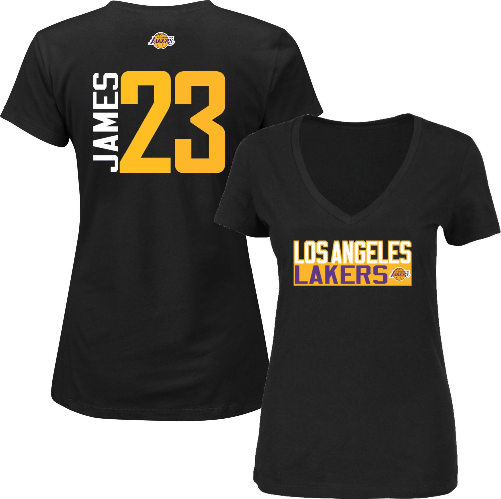 low priced 98a5e a84cf Majestic Women's Los Angeles Lakers LeBron James #23 Black V ...