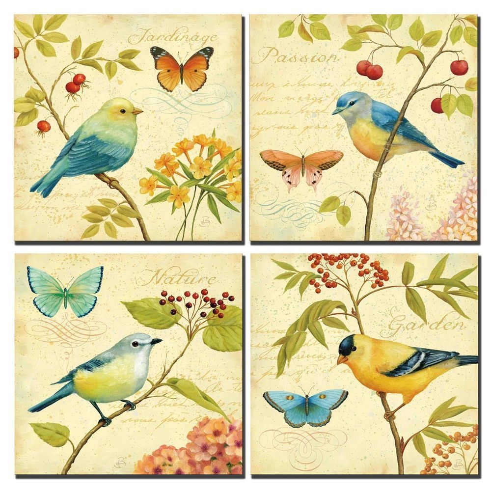 Framed] Vintage Bird & Flowers Natural Canvas Art Print Picture Wall ...