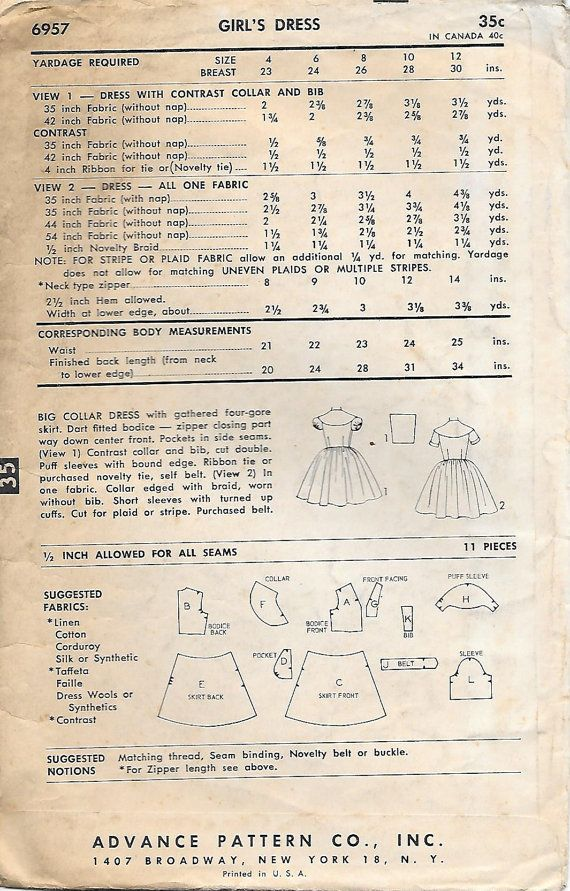 Advance 6957 1950s Girls Tweens Dress by GrandmaMadeWithLove