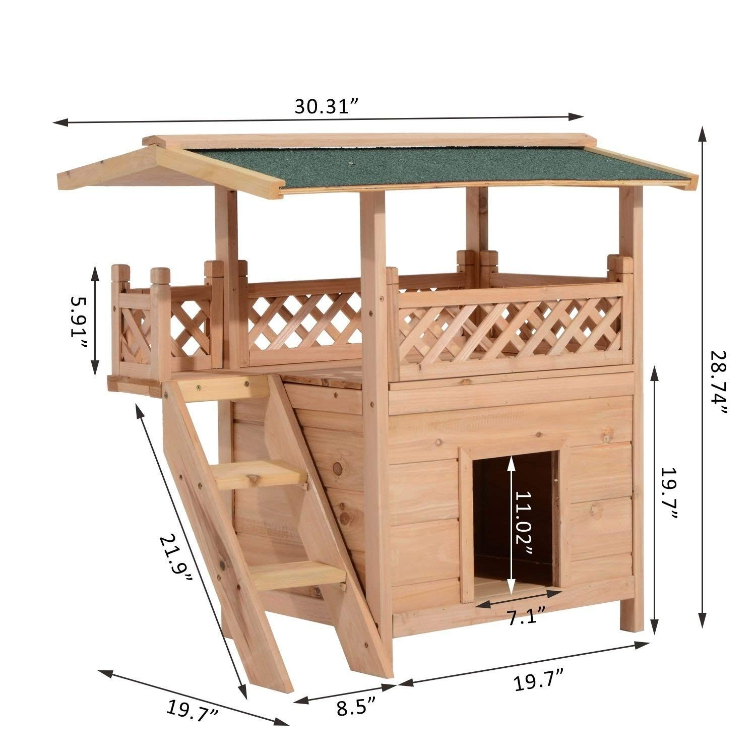 Pawhut Wooden Large Deluxe Elevated Indoor Outdoor Cat House With Porch And Balcony With Stairs Ad Deluxe Ad Dog House Plans Cat House Plans Dog House Diy
