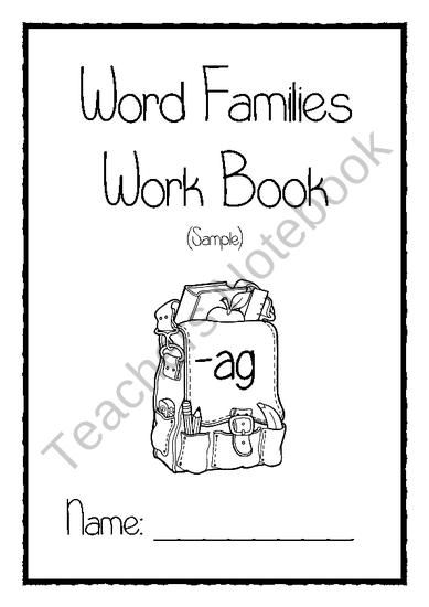 Word families work book sample from Little Learners