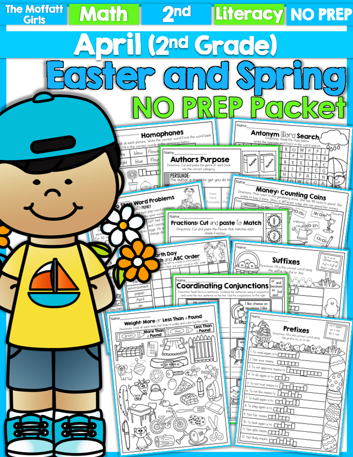 April NO PREP Packet for 2nd Grade- This packet is loaded with tons ...