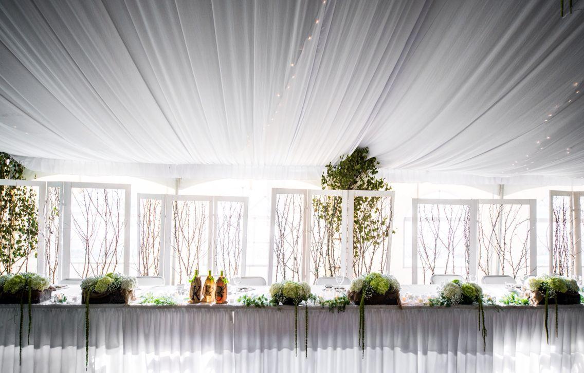 Wedding tent venue# reception# head table decor# head table backdrop ...