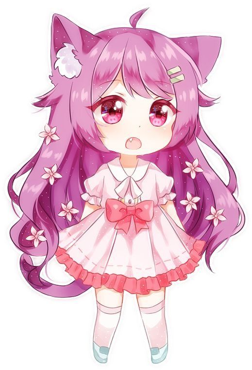 "Chibi Neko Girl (2.5"" x 3"")  |Chibi Anime Neko Girl"