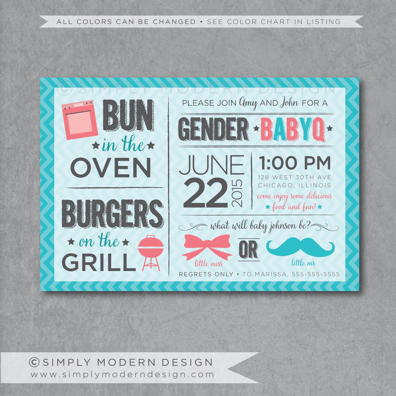 Gender Reveal Invitation Printed BBQ Gender Reveal