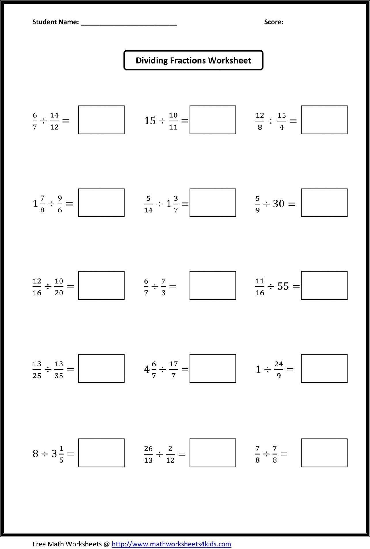 8 5th Grade Fractions Divide Worksheet