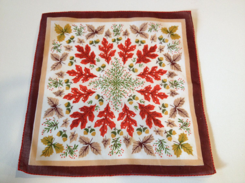 Vintage Oak Fall Leaf Handkerchief Hanky with Acorns- fall hanky, leaf handkerchief, acorns and leaves, vintage handkerchief by kchoos on Etsy https://www.etsy.com/listing/189349109/vintage-oak-fall-leaf-handkerchief-hanky