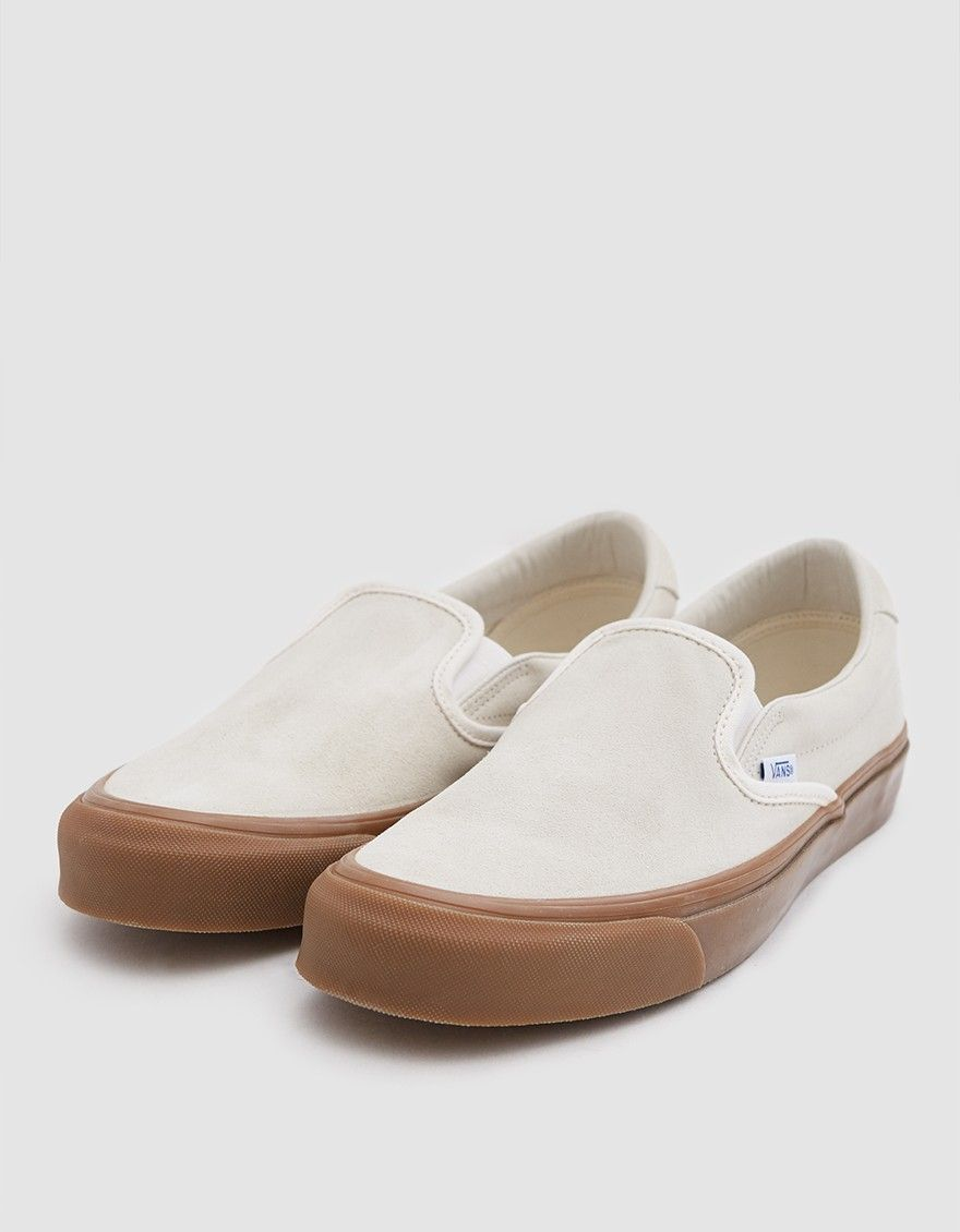 6e9b4daa668 OG Slip-On 59 LX from Vault by Vans in Sugar Swizzle. Suede upper. Lightly  padded collar. Elastic goring at tongue. Woven logo tab at lateral side.