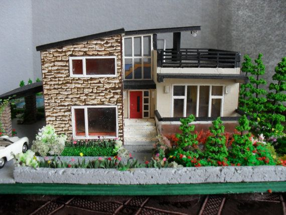 Modern Miniature Model House With Property Ho Scale By Emmynhiros