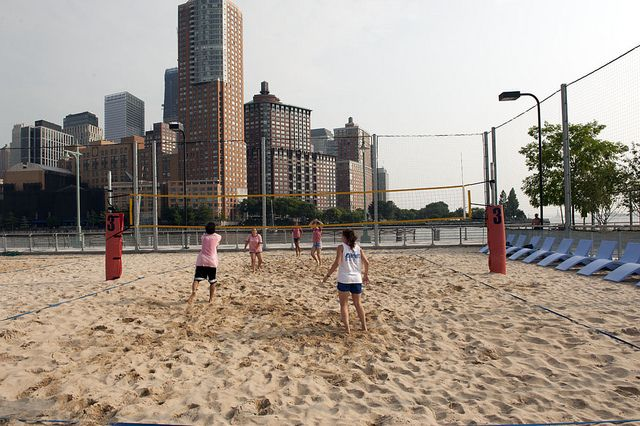 People Playing Beach Volleyball In Hudson River Park Manhattan New York River Park Beach Volleyball Hudson River