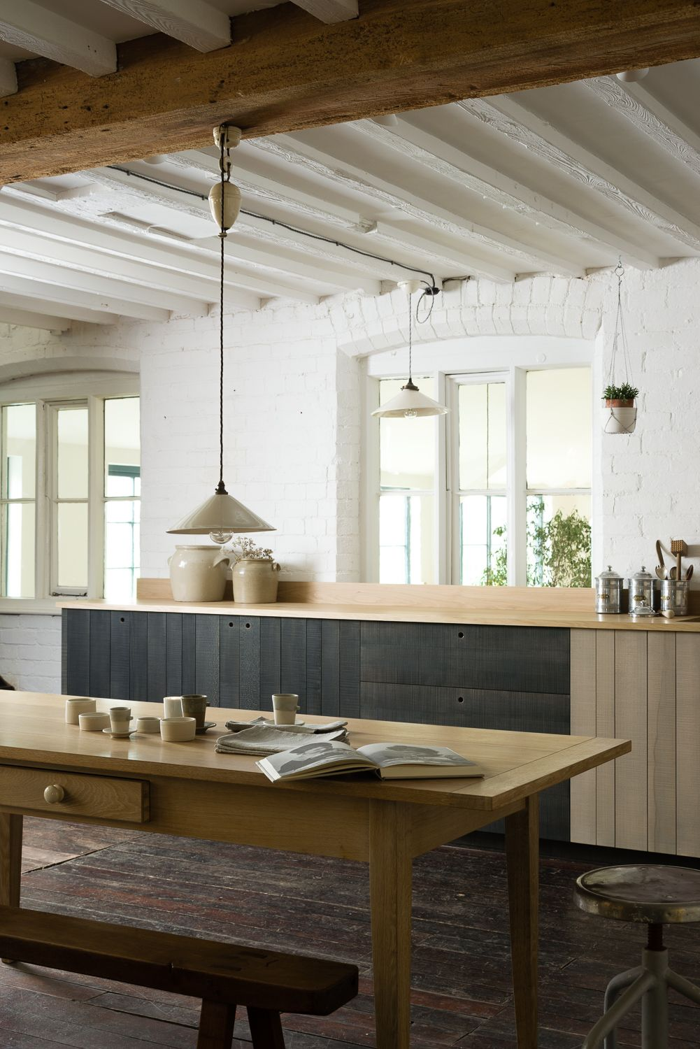 the beautiful sawn beech cabinets are stained with an inky blue ...