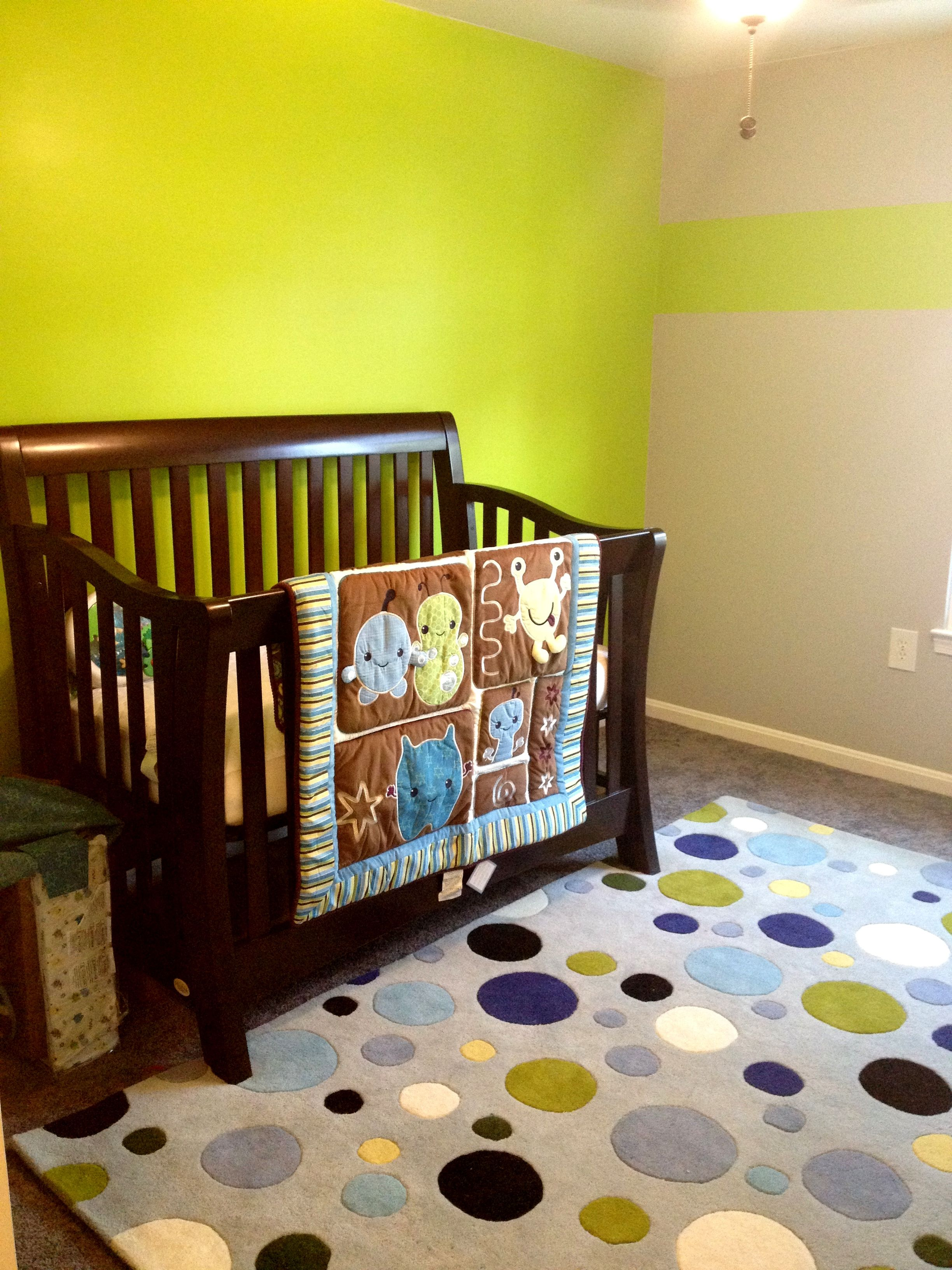 lime green and gray nursery can add pink or blue decor