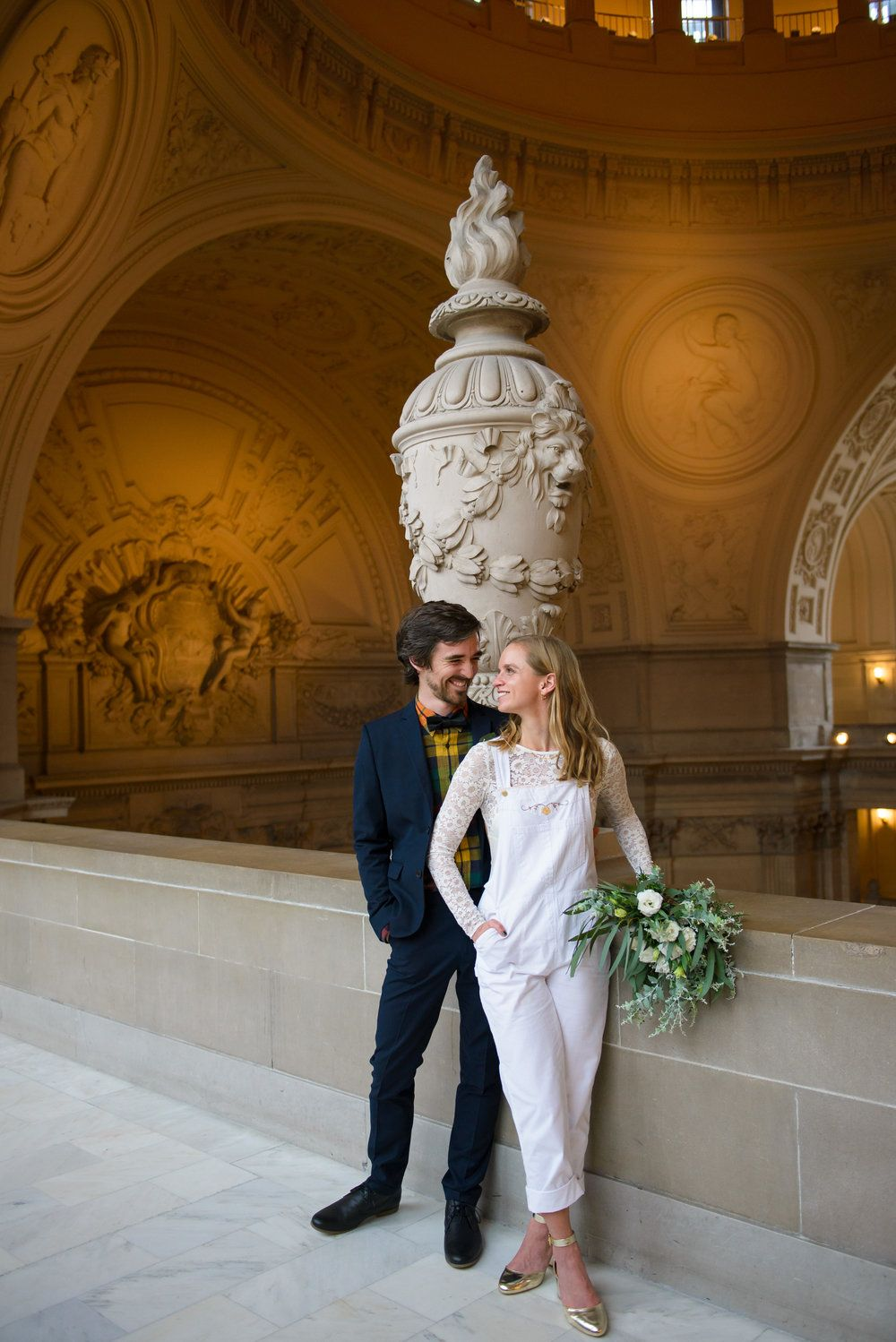 94d9ae45454 San Francisco City Hall Elopement with bride in wedding overalls    Photo  by 43rd Ave Photography