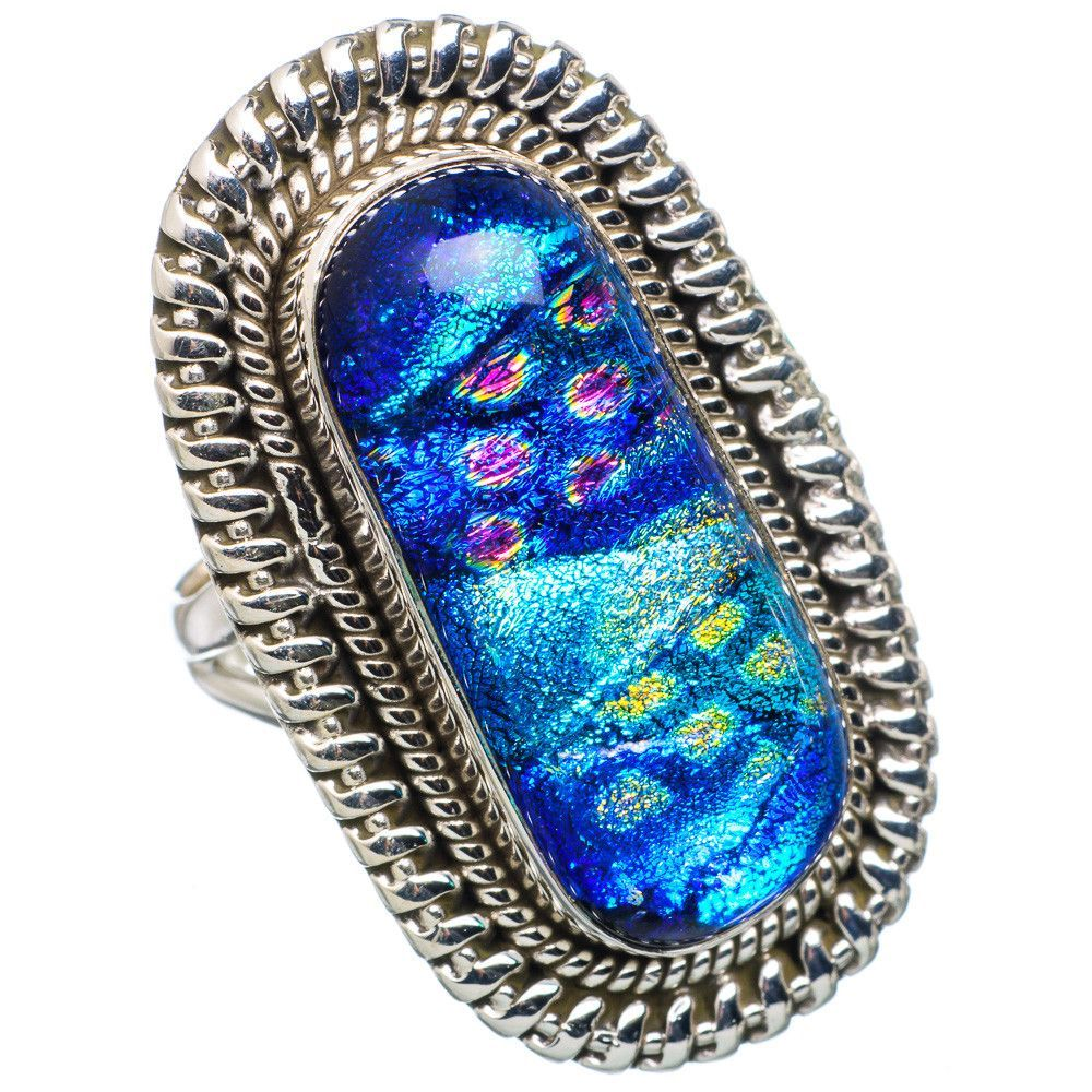 Large Dichroic Glass 925 Sterling Silver Ring Size 6.5 RING707047