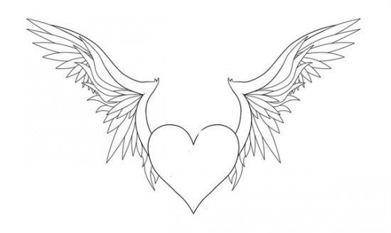 Heart With Wings Coloring Page Line Art Drawings Heart Coloring