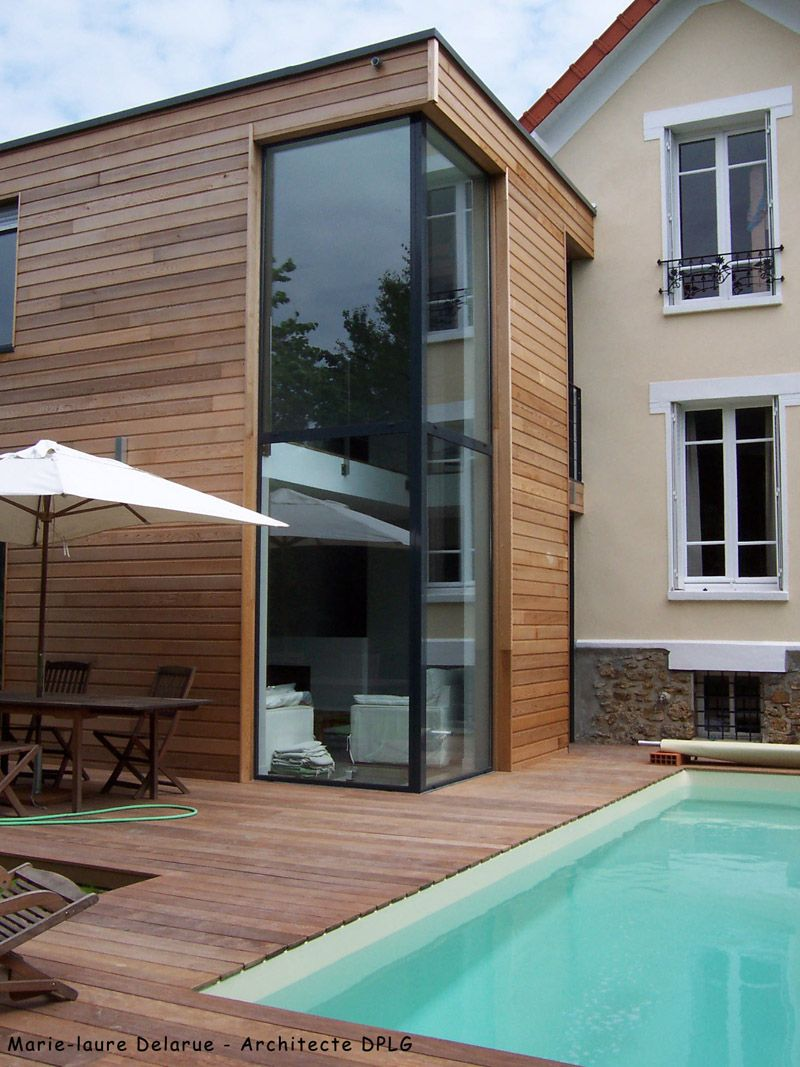 Exemple d 39 une extension ossature bois adoss e une maison Extension maison traditionnelle