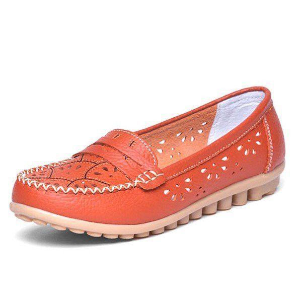 Cuir Couleur Pure Évider Slip Semelle Souple Respirant Chaussures Plates eCs673U
