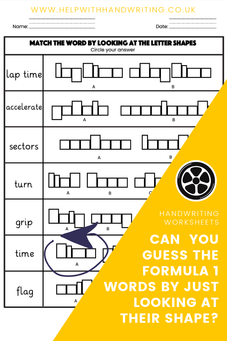 Letter Shape And Size Formula 1 Themed Kids Handwriting Practice Handwriting Activities Kids Handwriting [ 1102 x 735 Pixel ]