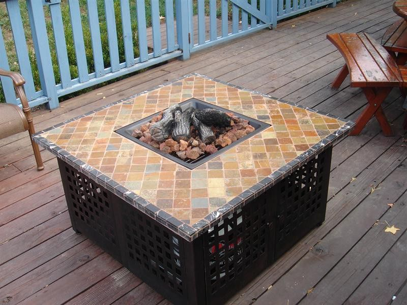 Enchanting Stone Top For Square Gas Fire Pit Table In Minimalist Wooden  Deck With Oak Benches