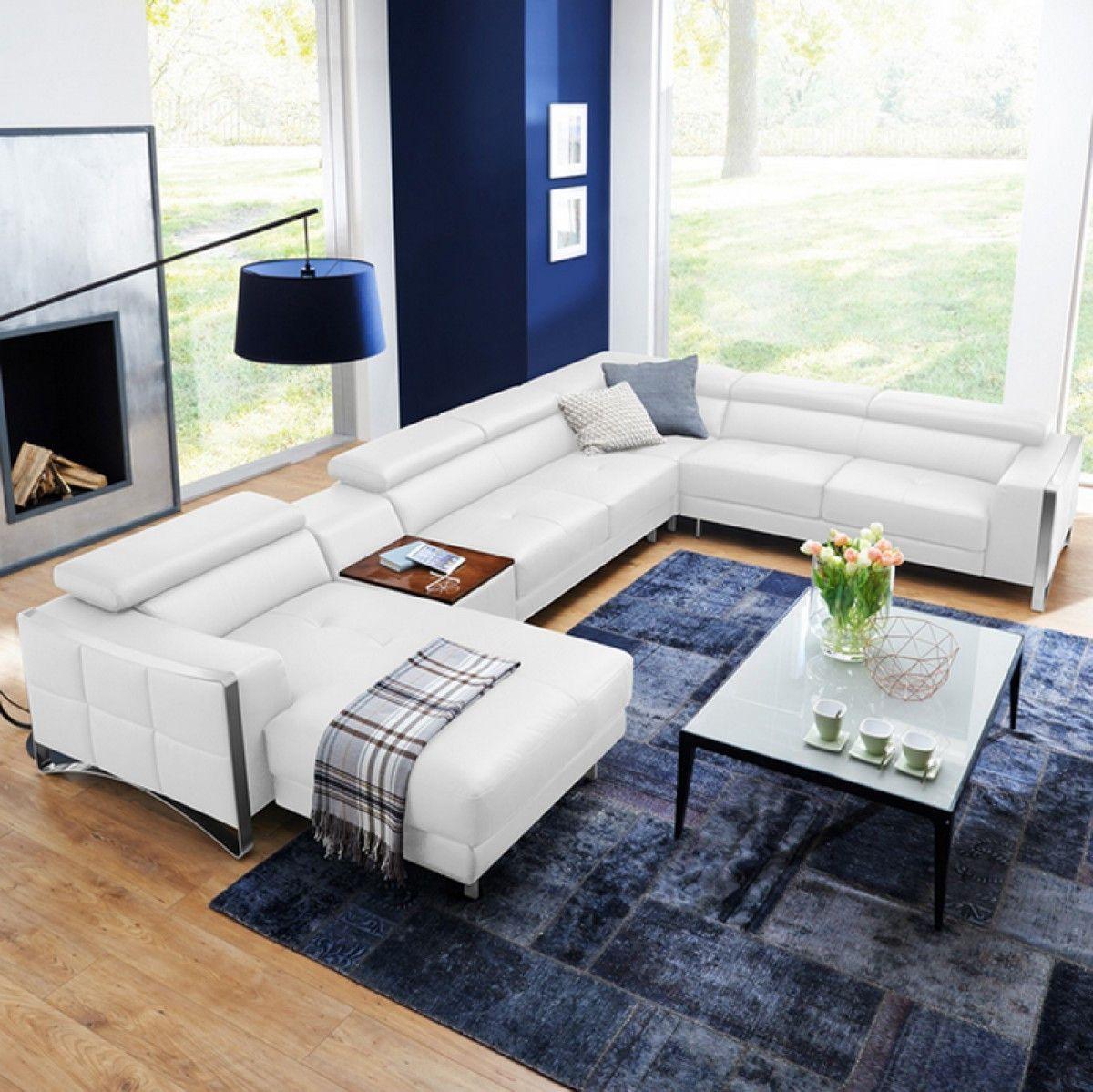 Divani Casa Arles Modern White Leather Sectional Sofa VGCS1504C-LAF ...