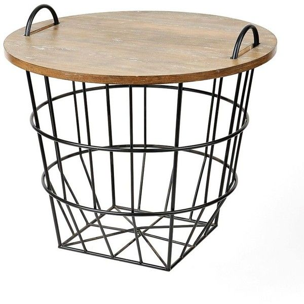 Industrial Wire And Wood Basket Side Table ($80) ❤ Liked On Polyvore  Featuring Home, Furniture, Tables, Accent Tables, Wooden Storage Baskets,  Wooden End ...