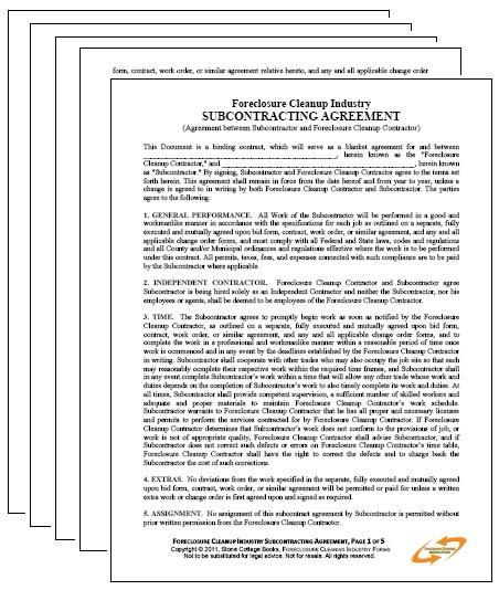 Foreclosure Cleanup Subcontracting Agreement  Pages Pdf  X