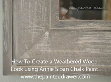 Tutorial Create The Weathered Wood Look With Paint Transform A Cheap Mirror Chalk Paint Mirror Chalk Paint Mirror Frames Weathered Wood Finish