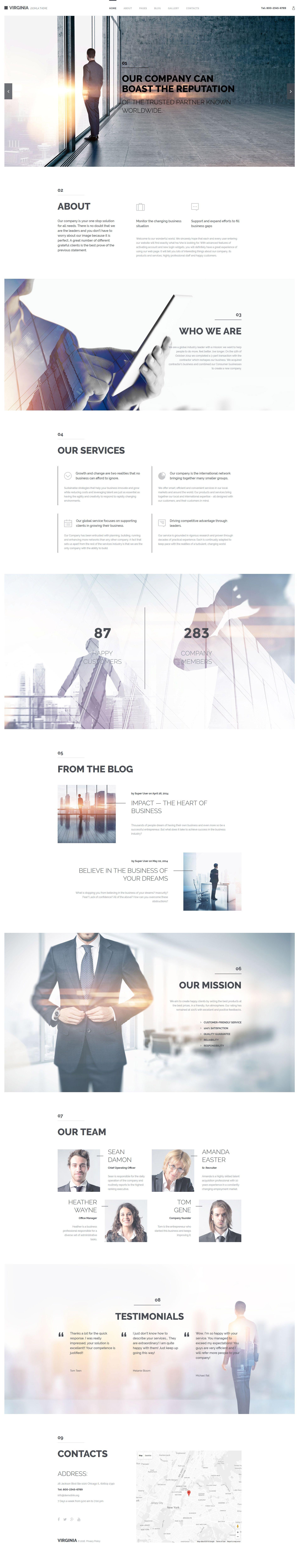 Virginia Joomla Theme Corporate Web Design Web Layout Design Website Design Inspiration