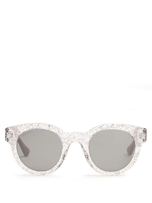 ed4cb71916 GUCCI Glittered Round-Frame Sunglasses.  gucci  sunglasses