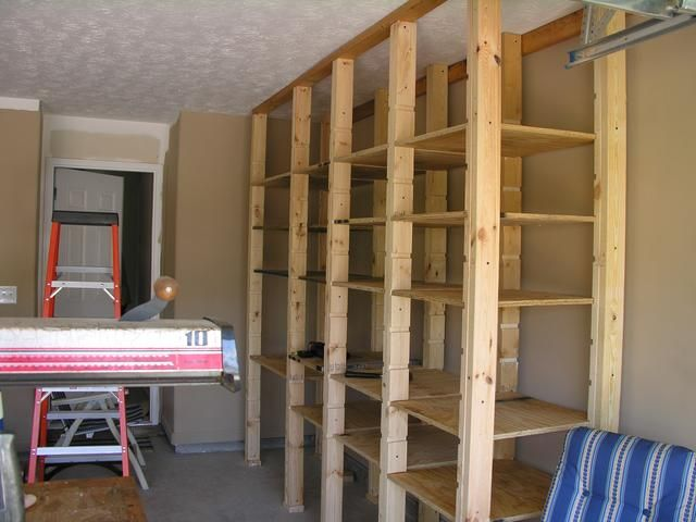 Garage Shelves In Open Style For Surprising Display Wooden White Ceiling Unit Design Idea Plan Material Usage Applied
