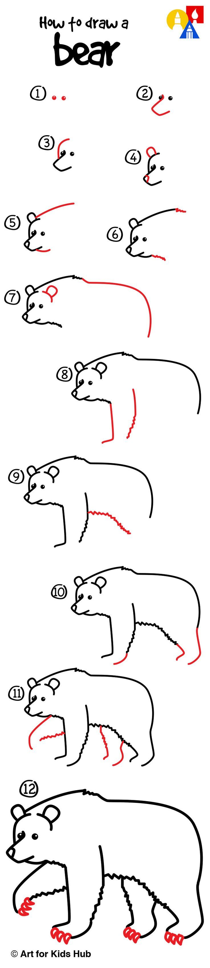 how to draw a grizzly bear realistic art for kids hub