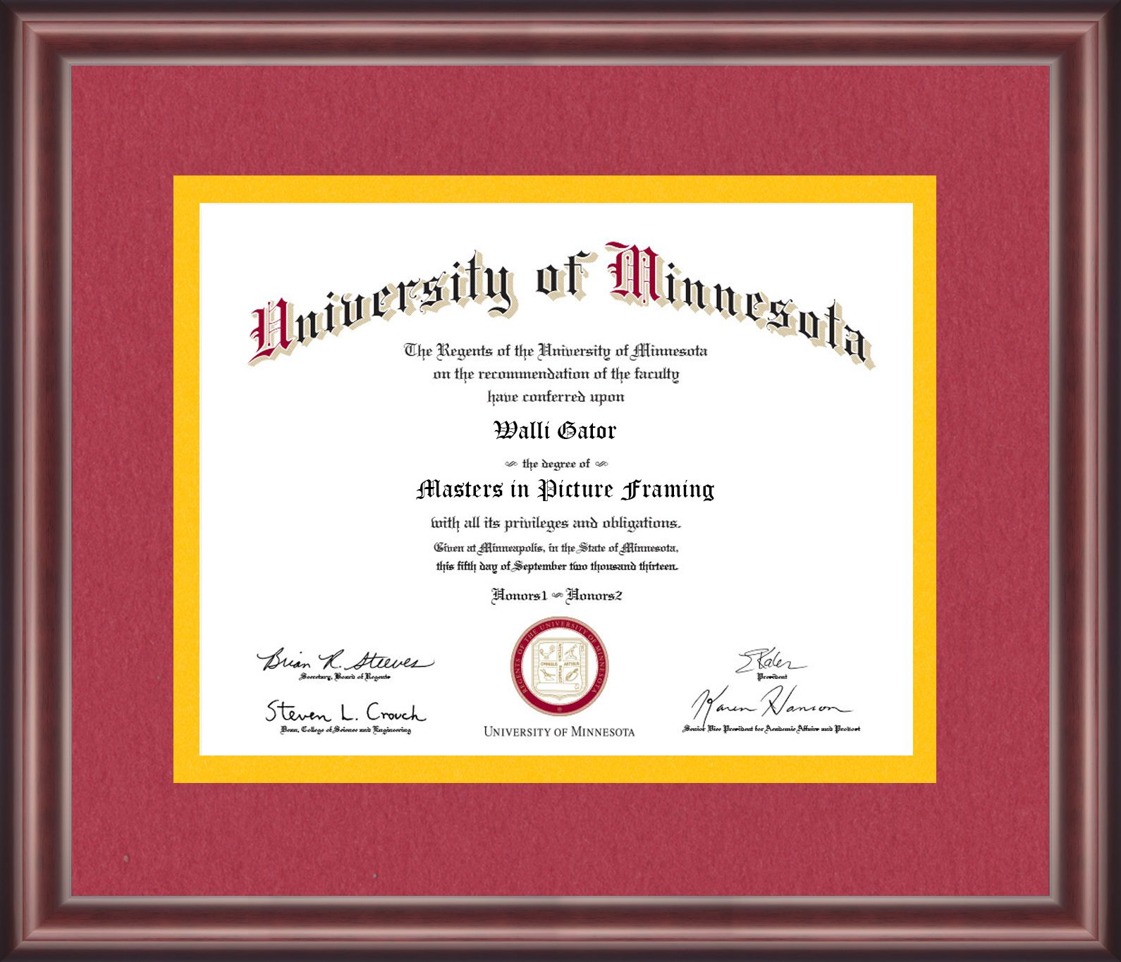University Of Minnesota Diploma Frame Talking Walls Diploma Frame University Of Minnesota University