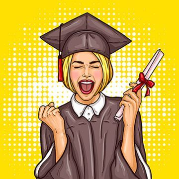 b2e57fe2f4 Pop Art Excited Girl Graduate Student In A Graduation Cap And Ma ...