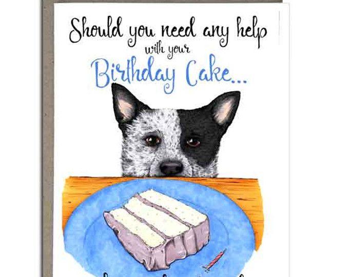 Australian Cattle Dog Birthday Card Blue Heeler Handmade Greeting Cards 4x5 Birthday Cupcake Dog Birthday Card Dog Greeting Cards Dog Birthday