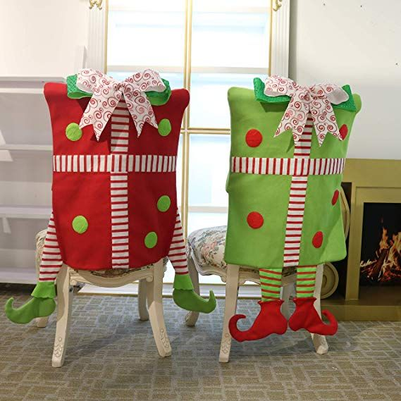 christmas elf chair covers chairs for boys valery madelyn set of 2 joyful back dinning or kitchen decorations festival home