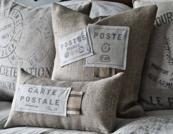 Burlap and stamp, love these...too bad these sold already!