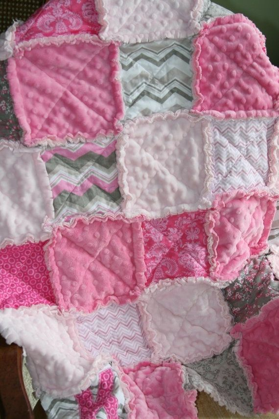 Baby Girl Rag Quilt Pink Grey Nursery by montse.esquivel.779