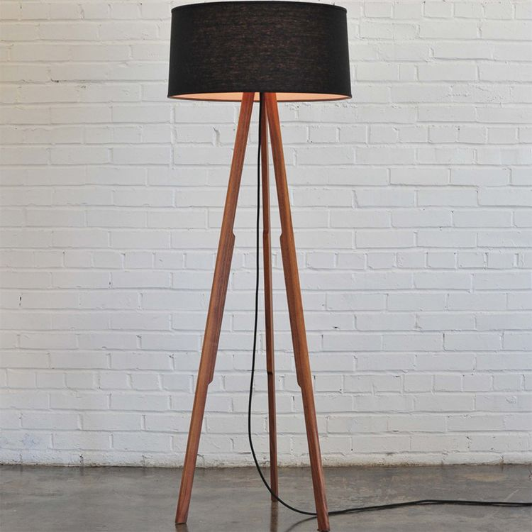 solstice floor lamp - black, natural, or white shade with black ...