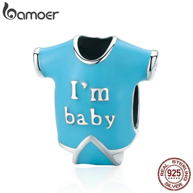 BAMOER Baby Collection 100% 925 Sterling Silver Little Baby Shirt Blue Enamel Charm Beads fit Girl Charm Bracelet Jewelry SCC506