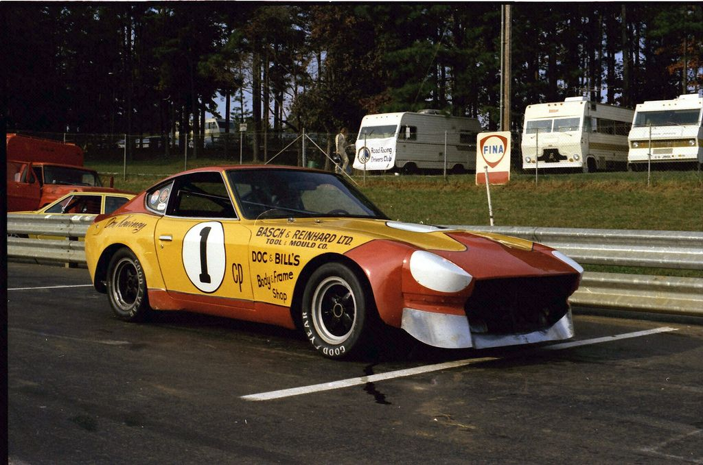 https://flic.kr/p/6ZVuJC | Don Kearney C Production Datsun 280z at Road Atlanta | Yes indeed, Don Kearney's Datsun 280z parked on pit road at Road Atlanta, way back when the 'Runoffs' were held there. Think this is about 1975.