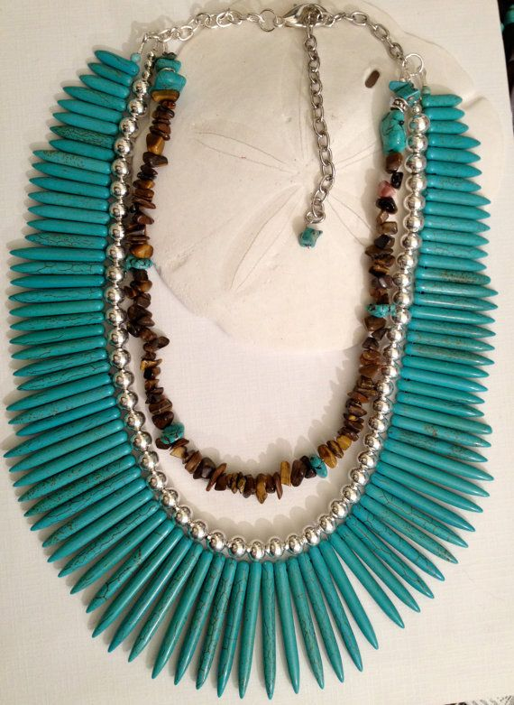 Turquoise Howlite Spike Multi Strand Necklace ( ich werde sie ohne die braune kette machen)