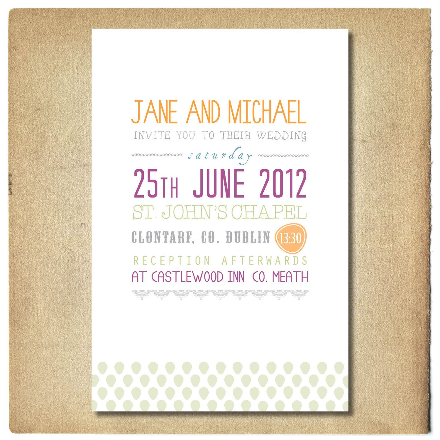 Wedding Invitation With Text Design // Green And Purple