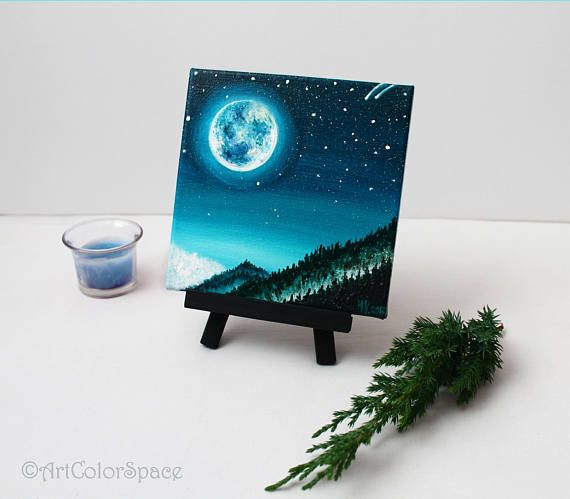 Night sky painting Starry sky Full moon Oil painting on canvas Moon painting Star art Moonlight painting