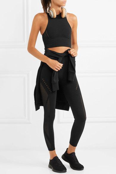2160e48232da9 Adidas Performance - Karlie Kloss Warp Knit Cropped Perforated Climacool  Stretch-knit Top - Black