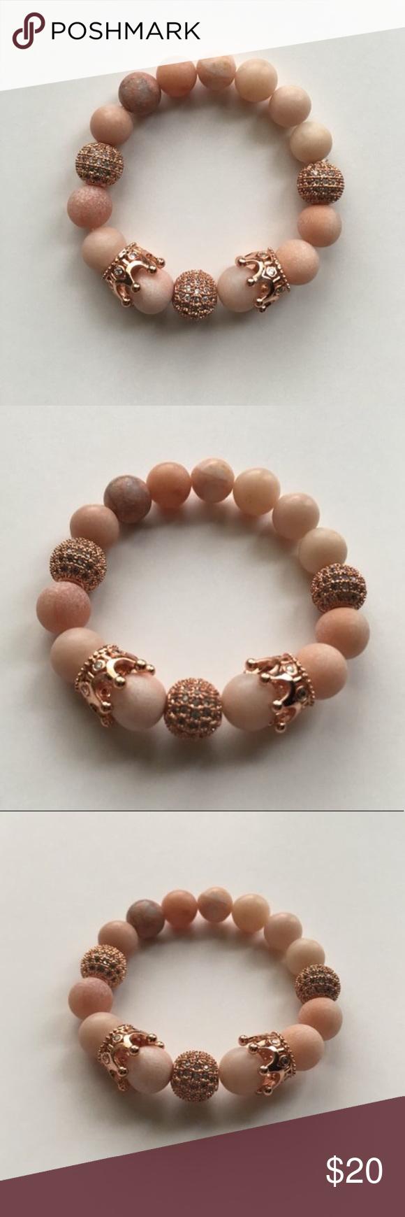 Girls yo yo pink jasper bead bracelet in my posh