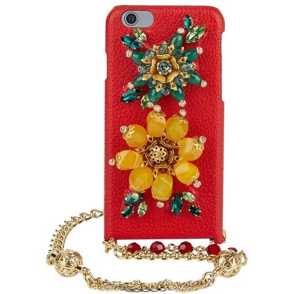 Dolce & Gabbana Chain Embellished Leather IPhone 6 Case found on Polyvore featuring accessories and tech accessories